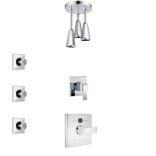 Delta Ara Chrome Finish Shower System with Temp2O Control Handle, 3-Setting Diverter, Ceiling Mount Showerhead, and 3 Body Sprays SS140133