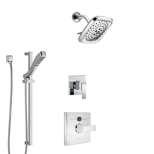 Delta Ara Chrome Finish Shower System with Temp2O Control Handle, 3-Setting Diverter, Showerhead, and Hand Shower with Slidebar SS140136