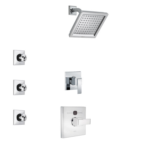 Delta Ara Chrome Finish Shower System with Temp2O Control Handle, 3-Setting Diverter, Showerhead, and 3 Body Sprays SS140139