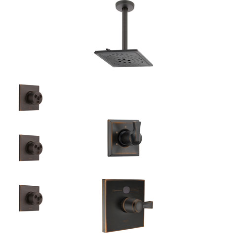Delta Dryden Venetian Bronze Finish Shower System with Temp2O Control, 3-Setting Diverter, Ceiling Mount Showerhead, and 3 Body Sprays SS1401RB10