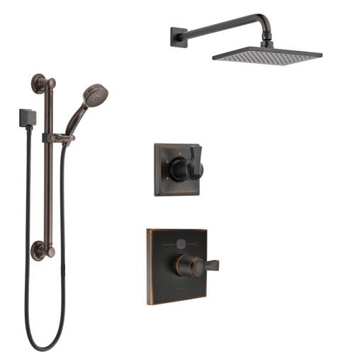 Delta Dryden Venetian Bronze Finish Shower System with Temp2O Control Handle, 3-Setting Diverter, Showerhead, and Hand Shower with Grab Bar SS1401RB1