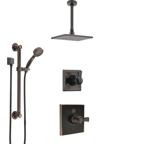 Delta Dryden Venetian Bronze Shower System with Temp2O Control, 3-Setting Diverter, Ceiling Mount Showerhead, and Hand Shower with Grab Bar SS1401RB2