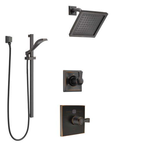 Delta Dryden Venetian Bronze Finish Shower System with Temp2O Control Handle, 3-Setting Diverter, Showerhead, and Hand Shower with Slidebar SS1401RB4