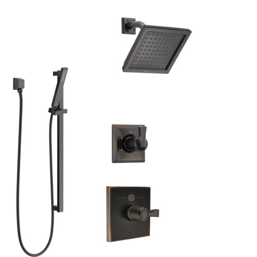 Delta Dryden Venetian Bronze Finish Shower System with Temp2O Control Handle, 3-Setting Diverter, Showerhead, and Hand Shower with Slidebar SS1401RB5