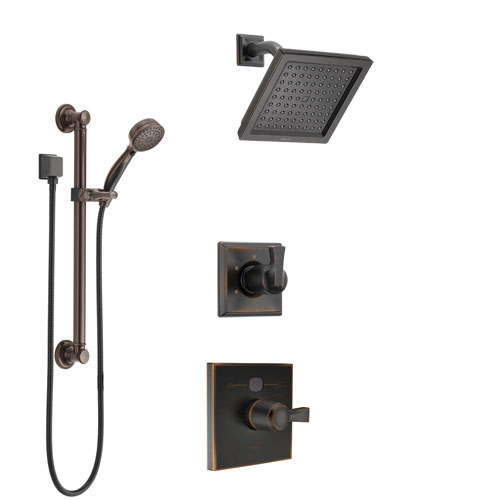 Delta Dryden Venetian Bronze Finish Shower System with Temp2O Control Handle, 3-Setting Diverter, Showerhead, and Hand Shower with Grab Bar SS1401RB6