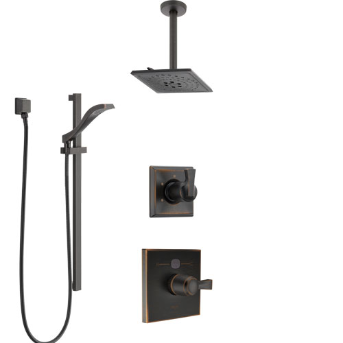 Delta Dryden Venetian Bronze Shower System with Temp2O Control, 3-Setting Diverter, Ceiling Mount Showerhead, and Hand Shower with Slidebar SS1401RB9