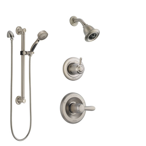 Delta Lahara Stainless Steel Finish Shower System with Control Handle, 3-Setting Diverter, Showerhead, and Hand Shower with Grab Bar SS142381SS3