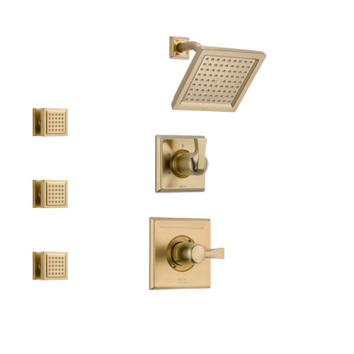 Delta Dryden Champagne Bronze Finish Shower System with Control Handle, 3-Setting Diverter, Showerhead, and 3 Body Sprays SS142511CZ1