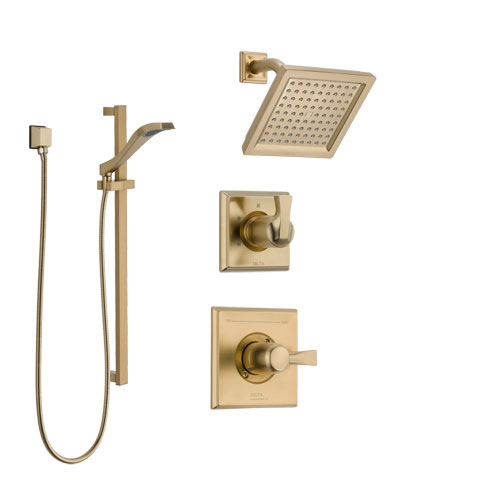Delta Dryden Champagne Bronze Finish Shower System with Control Handle, 3-Setting Diverter, Showerhead, and Hand Shower with Slidebar SS142511CZ2