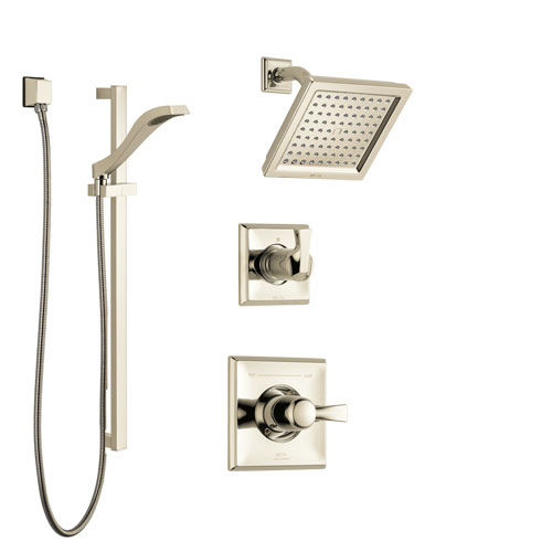 Delta Dryden Polished Nickel Finish Shower System with Control Handle, 3-Setting Diverter, Showerhead, and Hand Shower with Slidebar SS142511PN2