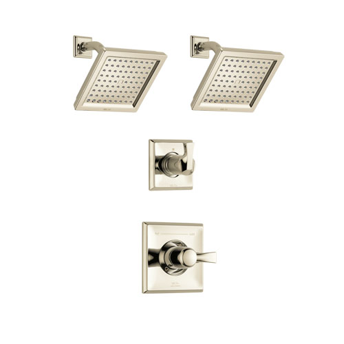 Delta Dryden Polished Nickel Finish Shower System with Control Handle, 3-Setting Diverter, 2 Showerheads SS142511PN5