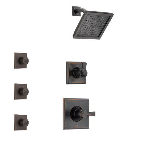 Delta Dryden Venetian Bronze Finish Shower System with Control Handle, 3-Setting Diverter, Showerhead, and 3 Body Sprays SS142511RB2