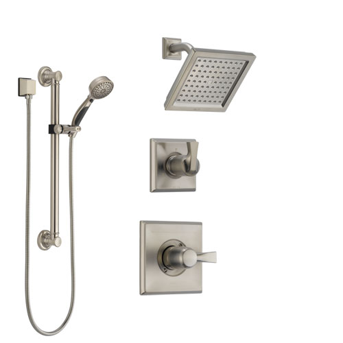 Delta Dryden Stainless Steel Finish Shower System with Control Handle, 3-Setting Diverter, Showerhead, and Hand Shower with Grab Bar SS142511SS3