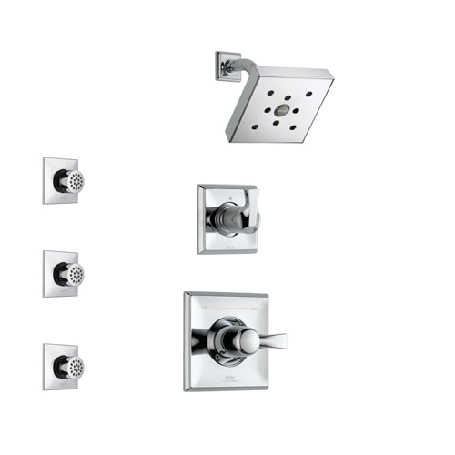Delta Dryden Chrome Finish Shower System with Control Handle, 3-Setting Diverter, Showerhead, and 3 Body Sprays SS1425121