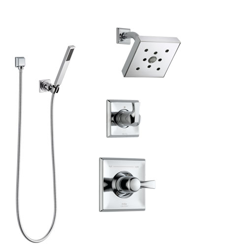 Delta Dryden Chrome Finish Shower System with Control Handle, 3-Setting Diverter, Showerhead, and Hand Shower with Wall Bracket SS1425125