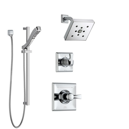 Delta Dryden Chrome Finish Shower System with Control Handle, 3-Setting Diverter, Showerhead, and Hand Shower with Slidebar SS1425126
