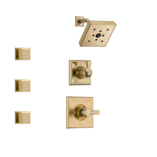 Delta Dryden Champagne Bronze Finish Shower System with Control Handle, 3-Setting Diverter, Showerhead, and 3 Body Sprays SS142512CZ1