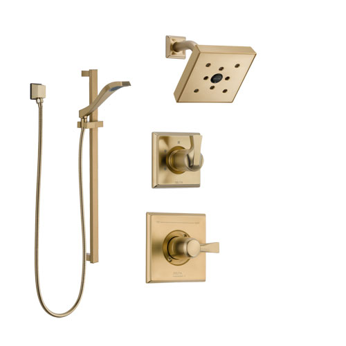 Delta Dryden Champagne Bronze Finish Shower System with Control Handle, 3-Setting Diverter, Showerhead, and Hand Shower with Slidebar SS142512CZ2