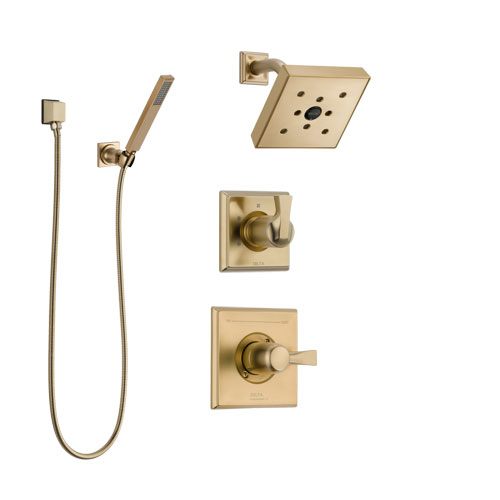 Delta Dryden Champagne Bronze Finish Shower System with Control Handle, 3-Setting Diverter, Showerhead, and Hand Shower with Wall Bracket SS142512CZ3