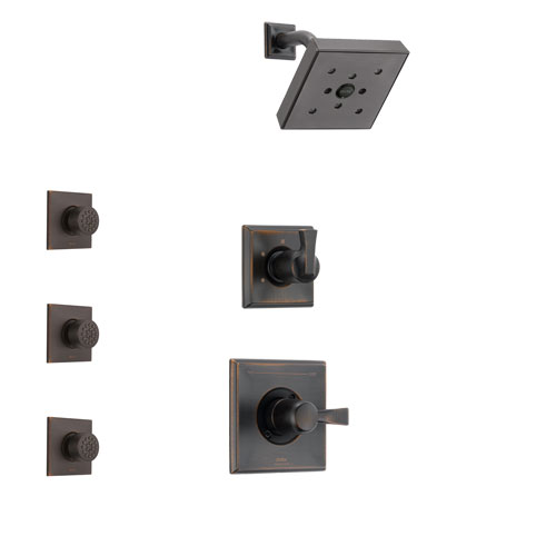 Delta Dryden Venetian Bronze Finish Shower System with Control Handle, 3-Setting Diverter, Showerhead, and 3 Body Sprays SS142512RB2