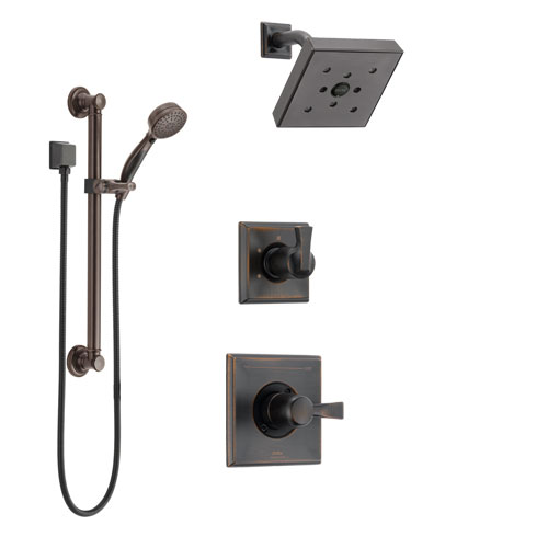 Delta Dryden Venetian Bronze Finish Shower System with Control Handle, 3-Setting Diverter, Showerhead, and Hand Shower with Grab Bar SS142512RB3