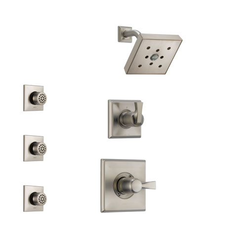 Delta Dryden Stainless Steel Finish Shower System with Control Handle, 3-Setting Diverter, Showerhead, and 3 Body Sprays SS142512SS2