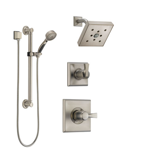 Delta Dryden Stainless Steel Finish Shower System with Control Handle, 3-Setting Diverter, Showerhead, and Hand Shower with Grab Bar SS142512SS3
