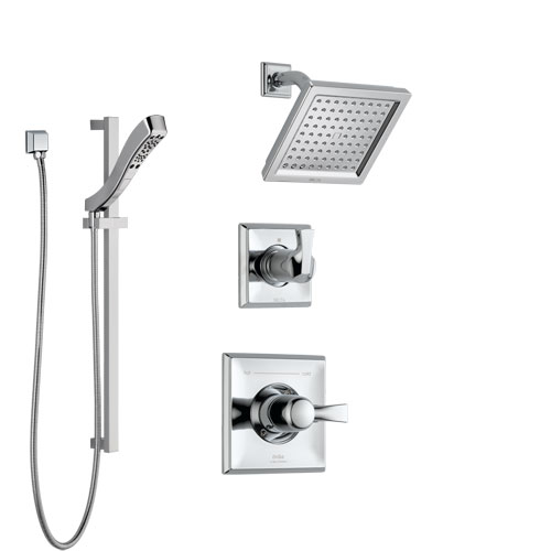 Delta Dryden Chrome Finish Shower System with Control Handle, 3-Setting Diverter, Showerhead, and Hand Shower with Slidebar SS1425132