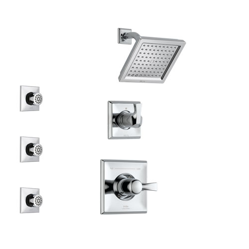 Delta Dryden Chrome Finish Shower System with Control Handle, 3-Setting Diverter, Showerhead, and 3 Body Sprays SS1425135