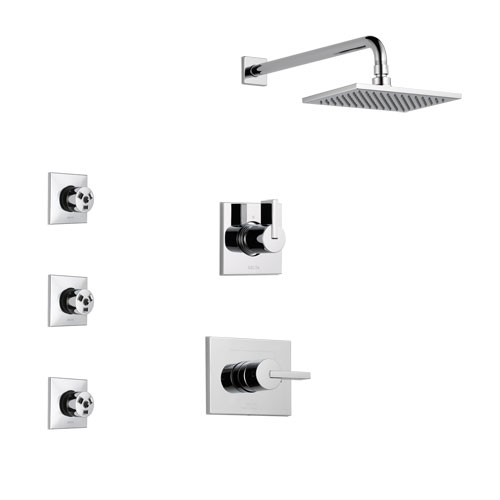 Delta Vero Chrome Finish Shower System with Control Handle, 3-Setting Diverter, Showerhead, and 3 Body Sprays SS1425312