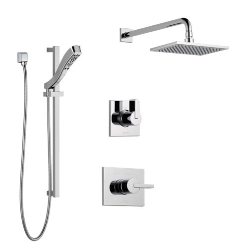 Delta Vero Chrome Finish Shower System with Control Handle, 3-Setting Diverter, Showerhead, and Hand Shower with Slidebar SS1425315