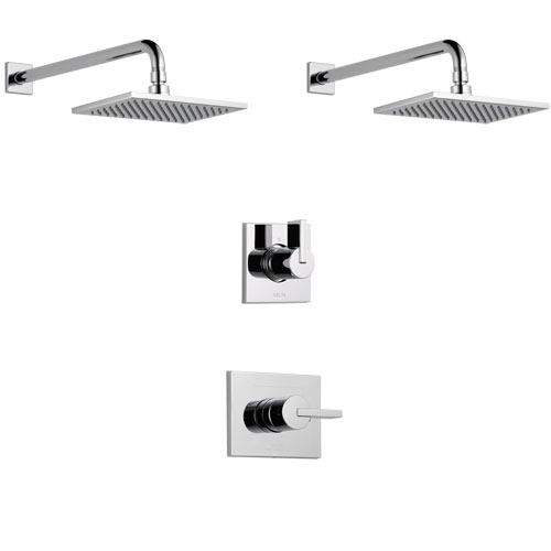 Delta Vero Chrome Finish Shower System with Control Handle, 3-Setting Diverter, 2 Showerheads SS1425316