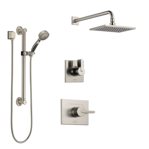 Delta Vero Stainless Steel Finish Shower System with Control Handle, 3-Setting Diverter, Showerhead, and Hand Shower with Grab Bar SS142531SS3