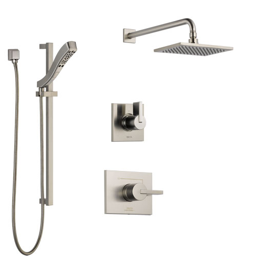 Delta Vero Stainless Steel Finish Shower System with Control Handle, 3-Setting Diverter, Showerhead, and Hand Shower with Slidebar SS142531SS5