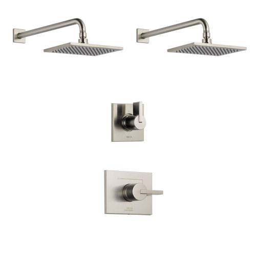 Delta Vero Stainless Steel Finish Shower System with Control Handle, 3-Setting Diverter, 2 Showerheads SS142531SS6