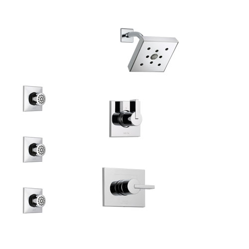 Delta Vero Chrome Finish Shower System with Control Handle, 3-Setting Diverter, Showerhead, and 3 Body Sprays SS1425321