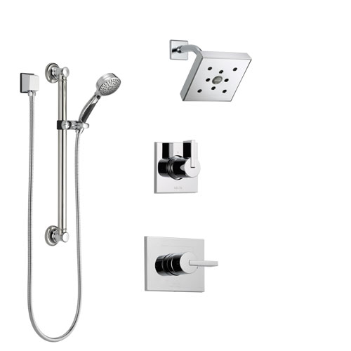 Delta Vero Chrome Finish Shower System with Control Handle, 3-Setting Diverter, Showerhead, and Hand Shower with Grab Bar SS1425323