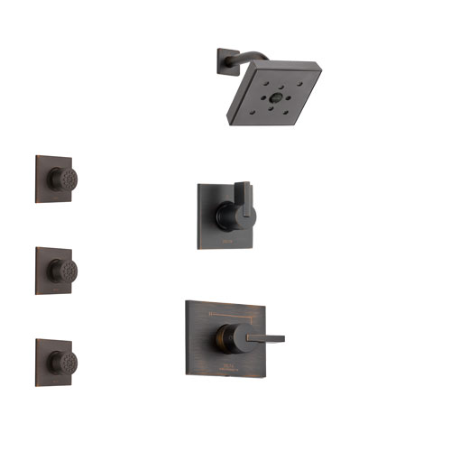 Delta Vero Venetian Bronze Finish Shower System with Control Handle, 3-Setting Diverter, Showerhead, and 3 Body Sprays SS142532RB2