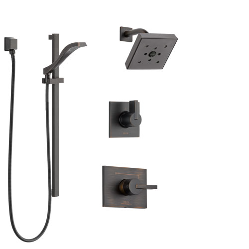Delta Vero Venetian Bronze Finish Shower System with Control Handle, 3-Setting Diverter, Showerhead, and Hand Shower with Slidebar SS142532RB4