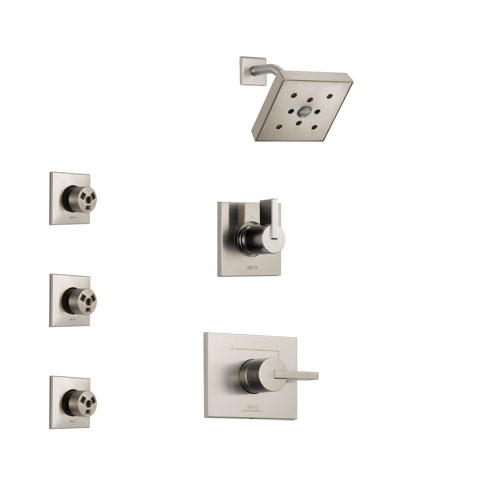 Delta Vero Stainless Steel Finish Shower System with Control Handle, 3-Setting Diverter, Showerhead, and 3 Body Sprays SS142532SS1