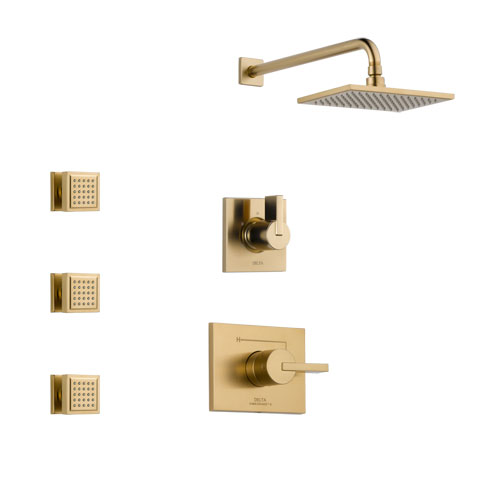 Delta Vero Champagne Bronze Finish Shower System with Control Handle, 3-Setting Diverter, Showerhead, and 3 Body Sprays SS14253CZ1