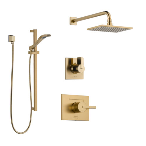 Delta Vero Champagne Bronze Finish Shower System with Control Handle, 3-Setting Diverter, Showerhead, and Hand Shower with Slidebar SS14253CZ2