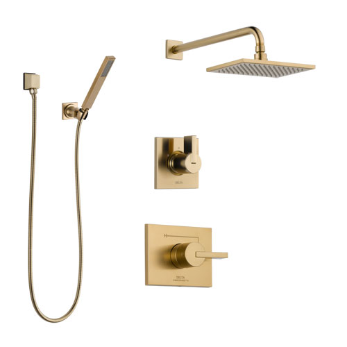 Delta Vero Champagne Bronze Finish Shower System with Control Handle, 3-Setting Diverter, Showerhead, and Hand Shower with Wall Bracket SS14253CZ3