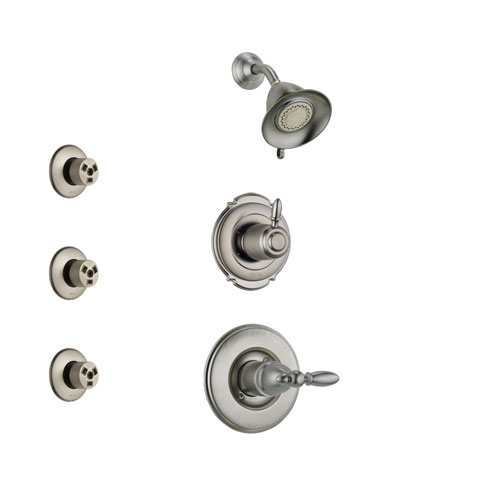 Delta Victorian Stainless Steel Finish Shower System with Control Handle, 3-Setting Diverter, Showerhead, and 3 Body Sprays SS14255SS2