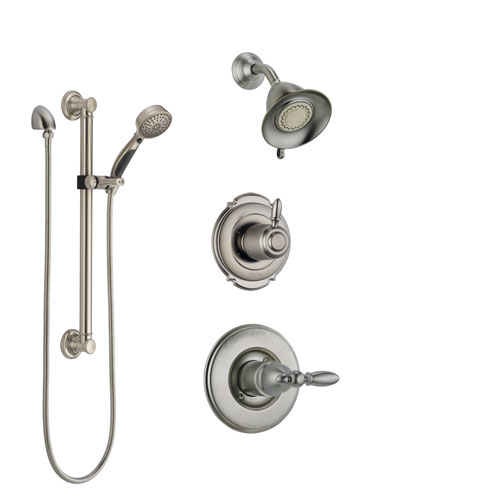 Delta Victorian Stainless Steel Finish Shower System with Control Handle, 3-Setting Diverter, Showerhead, and Hand Shower with Grab Bar SS14255SS3