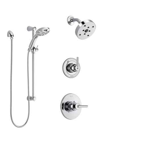 Delta Trinsic Chrome Finish Shower System with Control Handle, 3-Setting Diverter, Showerhead, and Temp2O Hand Shower with Slidebar SS1425914