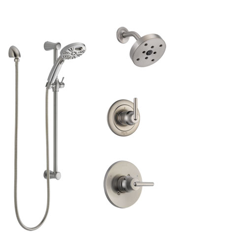 Delta Trinsic Stainless Steel Finish Shower System with Control Handle, 3-Setting Diverter, Showerhead, & Temp2O Hand Shower with Slidebar SS142591SS4