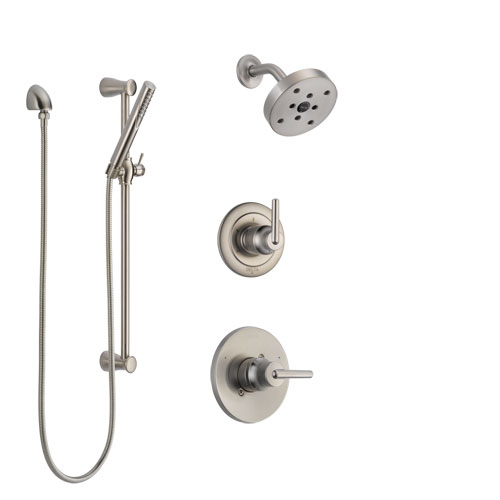 Delta Trinsic Stainless Steel Finish Shower System with Control Handle, 3-Setting Diverter, Showerhead, and Hand Shower with Slidebar SS142591SS5