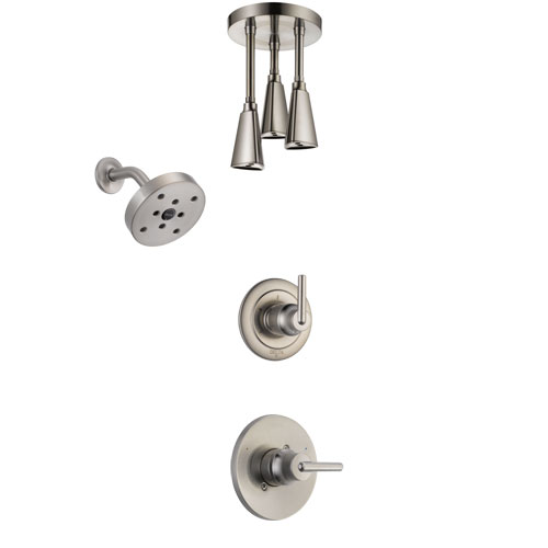 Delta Trinsic Stainless Steel Finish Shower System with Control Handle, 3-Setting Diverter, Showerhead, and Ceiling Mount Showerhead SS142591SS6
