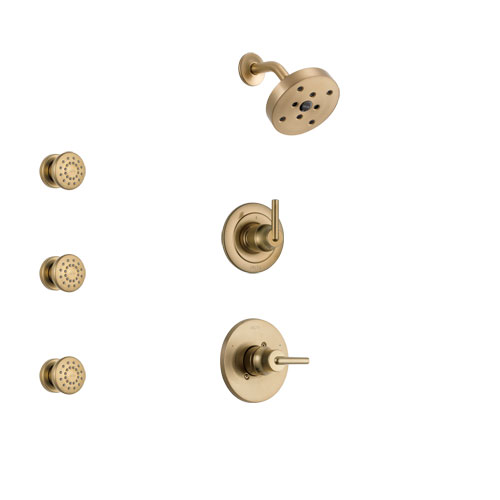 Delta Trinsic Champagne Bronze Finish Shower System with Control Handle, 3-Setting Diverter, Showerhead, and 3 Body Sprays SS14259CZ1
